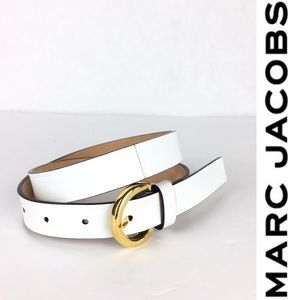 Marc Jacobs Made in Italy White Leather Belt